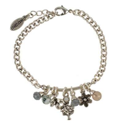 Hultquist Jewellery Silver Tree of Life bracelet with grey agate, white opal, labradorite grey glass pearls and charms