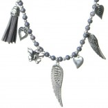 Olia Jewellery Dotty Angel Wing Tassel Necklace Grey Close up of charms
