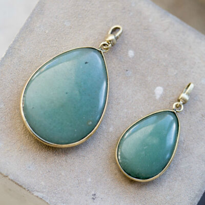 Tutti & Co Green Aventurine Stone & Gold Pendant Charms