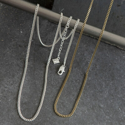 Tutti & Co Long Simple Curb Chain Necklace – Silver & Gold