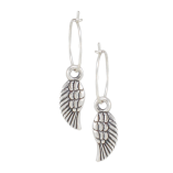Danon Jewellery Silver Dainty & Delicate Mini Micro Angel Wing Creole Hoop Earrings for sale at Birdhouse Jewellery