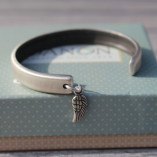 Danon Follow Your Dreams Silver Bangle with Small & Delicate Mini Micro Angel Wing Charm Copyright Birdhouse Jewellery