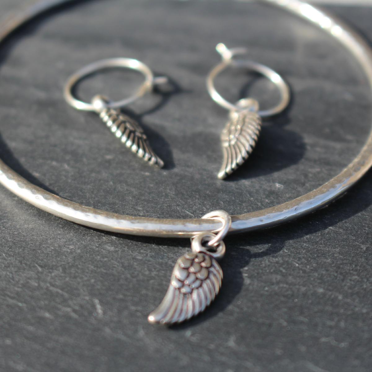 be21a0c25 Danon Silver Bangle With Mini Angel Wing Charm