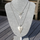 Danon Silver T-Bar 2 Heart & Crystal Double Necklace 2