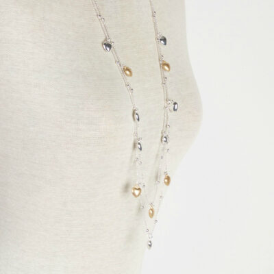 Olia Katy Gold & Silver Hearts Long Necklace