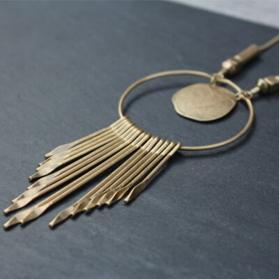 Olia Kiran Long Burnished Gold Necklace at Birdhouse Jewellery
