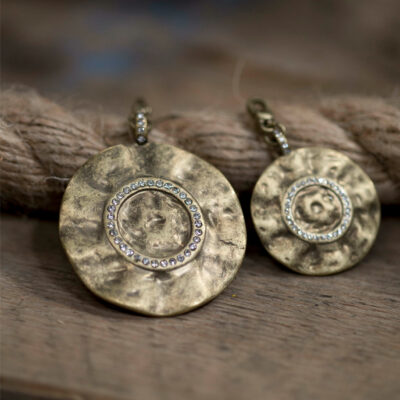 Tutti & Co Gold Disc Charm Pendants With Crystals available at Birdhouse Jewellery