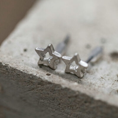 Tutti & Co Matt Antique Light Silver Open Star Stud Earrings available at Birdhouse Jewellery