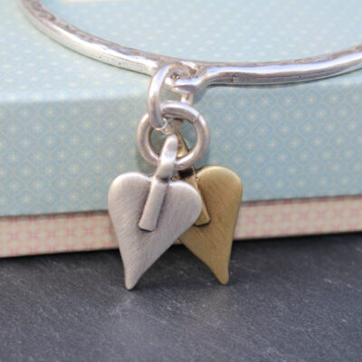 Danon Double Heart Silver Bangle - Silver & Bronze Gold Signature Heart Charms available at Birdhouse Jewellery www.birdhousejewellery.com