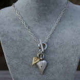 Danon Jewellery Double Heart T-Bar Necklace with silver and gold heart