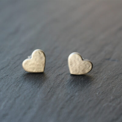Danon Silver Hammered Heart Stud Earrings