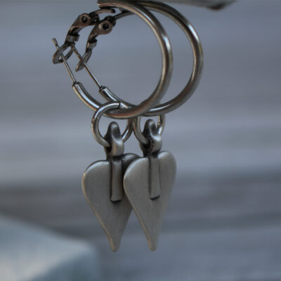 Danon Jewellery Silver Heart Hoop Earrings with Silver Danon Signature Heart Charms