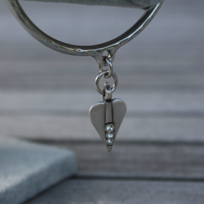 Danon Silver Heart with Swarovski Crystal Bangle