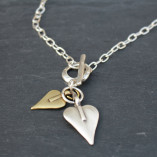 Danon t-bar 2 heart short silver necklace – one gold heart, one silver