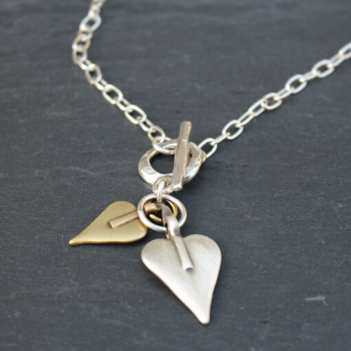 Danon t-bar 2 heart short silver necklace - one gold heart, one silver