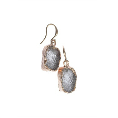 Hot Tomato Grey Druzy & Matt Gold Earrings