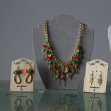 Hot Tomato Rain Drops Cascade Necklace and Earrings