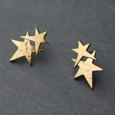 Danon Jewellery Matt Gold Double Star Earrings