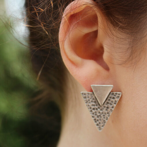 Treaty Jewellery Mya Silver Triangle Geometric Stud Earrings from Birdhouse Jewellery