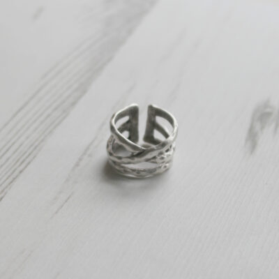 Treaty Jewellery Zinnia Double Wrap Silver Adjustable Ring Available at BirdhouseJewellery.com