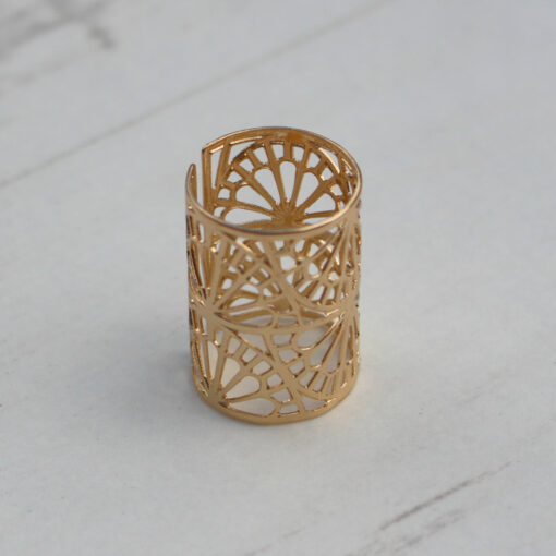 Big Metal London Gold Adjustable Filigree Ring at Birdhouse Jewellery