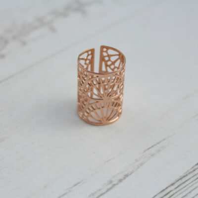 Big Metal London Rose Gold Adjustable Filigree Ring at Birdhouse Jewellery