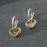Danon Outline Heart and Heart Charm Hoop Earrings from Birdhouse Jewellery
