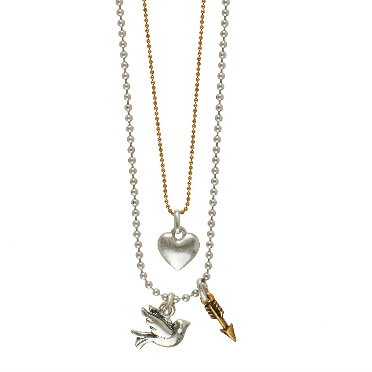 Hultquist Heart, Arrow & Bird Double Chain Necklace