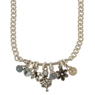 Hultquist Jewellery Silver Tree Of Life Necklace with grey agate, white opal, labradorite grey glass pearls and charms