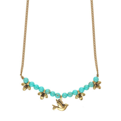 Hultquist Tree of Life Necklace Gold Bird & Leaves with Turquoise Stones