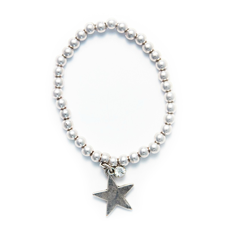 Olia Jewellery Minny Stretch Silver Beaded Bracelet with Star Charm & sparkly crystal gem drop