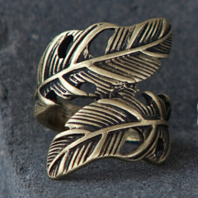 Tutti & Co Gold Feather Ring