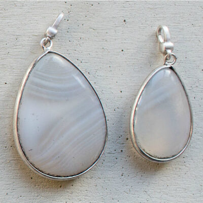 Tutti & Co Large Grey Agate Stone & Silver Pendant Charms