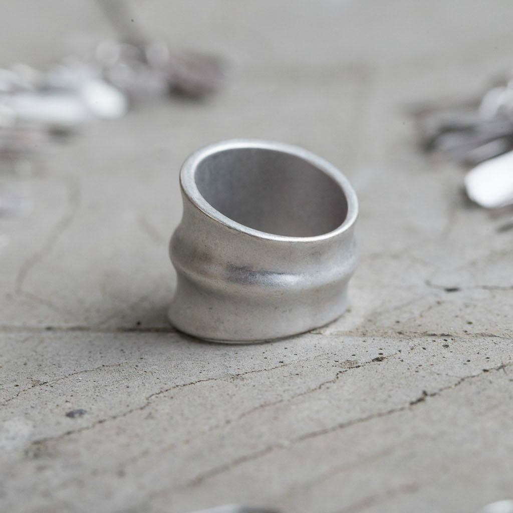 Tutti & Co Large Ridged Silver Ring