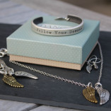 Danon Follow Your Dreams Silver Bangle with Small & Delicate Mini Micro Angel Wing Charm