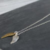Danon Jewellery Silver and Bronze / Gold Angel Wing Charms on Long Silver Chain Necklace available at Birdhouse Jewellery www.birdhousejewellery.com