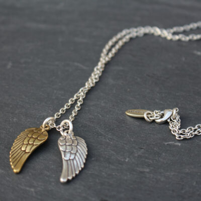 Danon Long Silver Chain Angel Wing Necklace - Silver & Gold Image Copyright www.birdhousejewellery.com