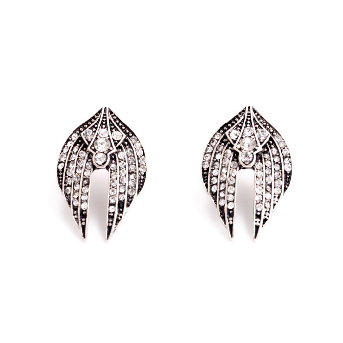 Rock & Rye Fallen Angel Double Wing Vintage Crystal Earrings available at Birdhouse Jewellery