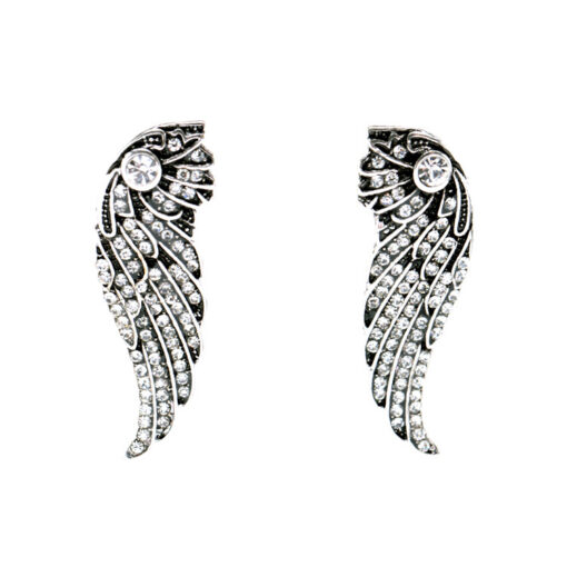 Rock & Rye Fallen Angel Vintage Crystal Wing Earrings