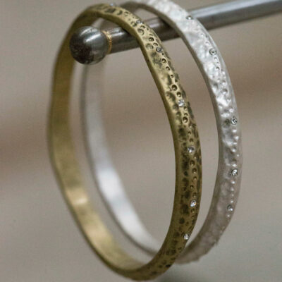 Tutti & Co Uneven Bangle with Crystals - Gold available at Birdhouse Jewellery