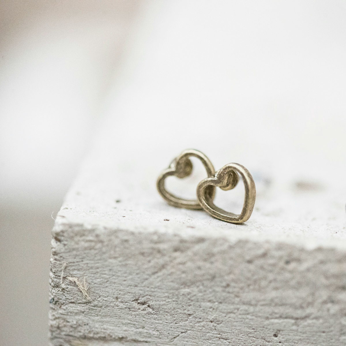 Tutti & Co Gold Open Heart Studs available at Birdhouse Jewellery