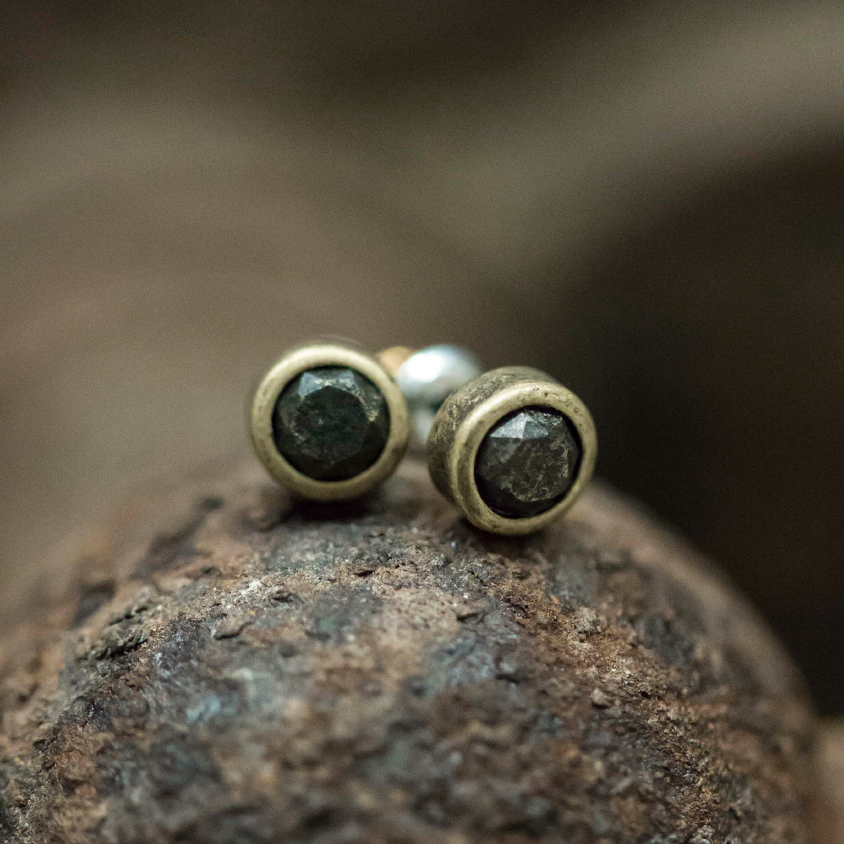 Tutti & Co Gold Pyrite Stud Earrings available at Birdhouse Jewellery