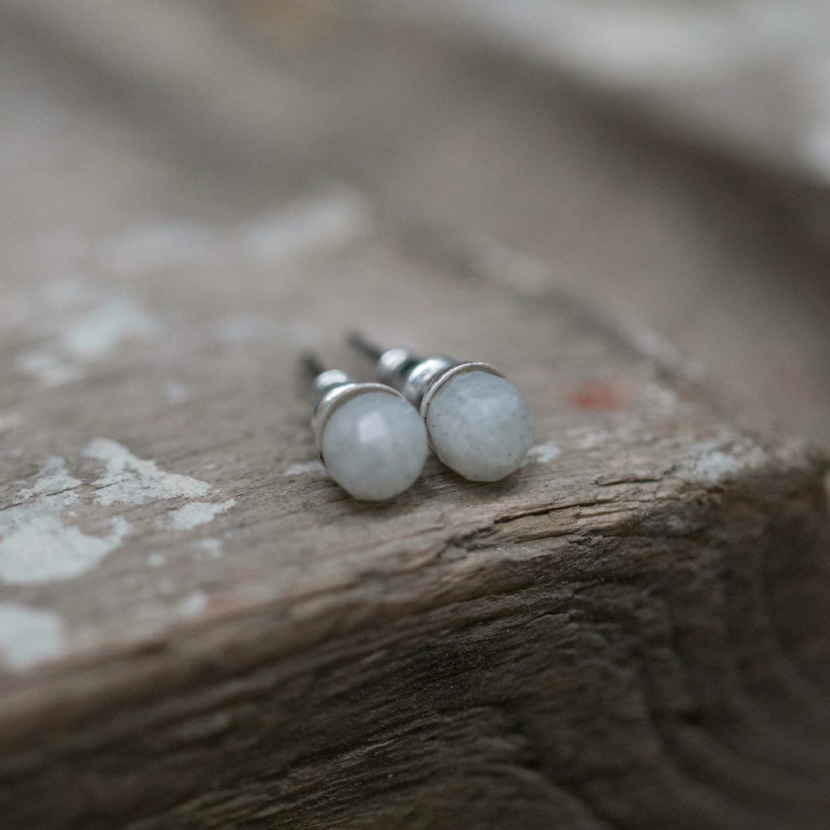 Tutti & Co Grey Faceted Stone Stud Earrings available at Birdhouse Jewellery