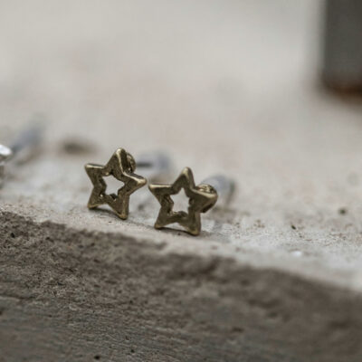 Tutti & Co Matt Antique Gold Open Star Stud Earrings available at Birdhouse Jewellery