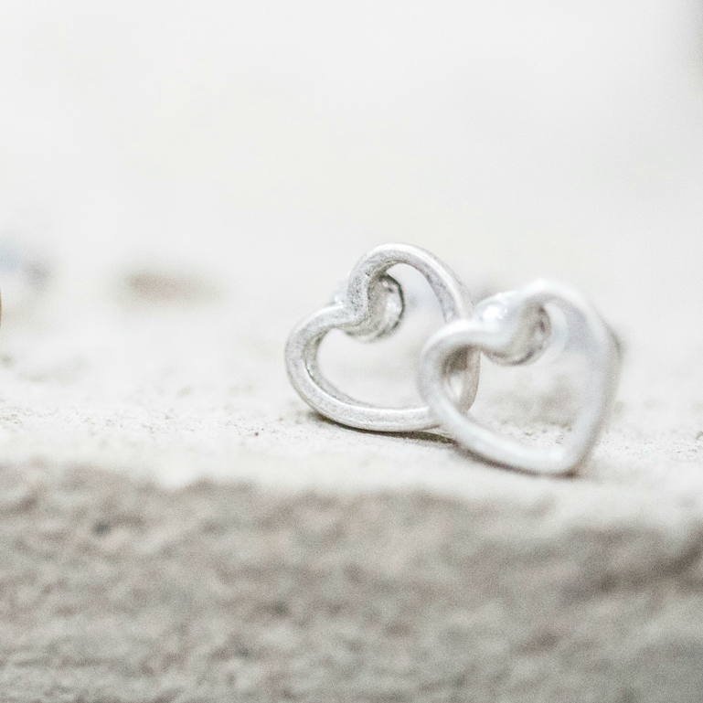 Tutti & Co Matt Light Antique Silver Open Heart Stud Earrings available at Birdhouse Jewellery