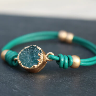 Hot Tomato Druzy on Teal Leather Magnetic bracelet