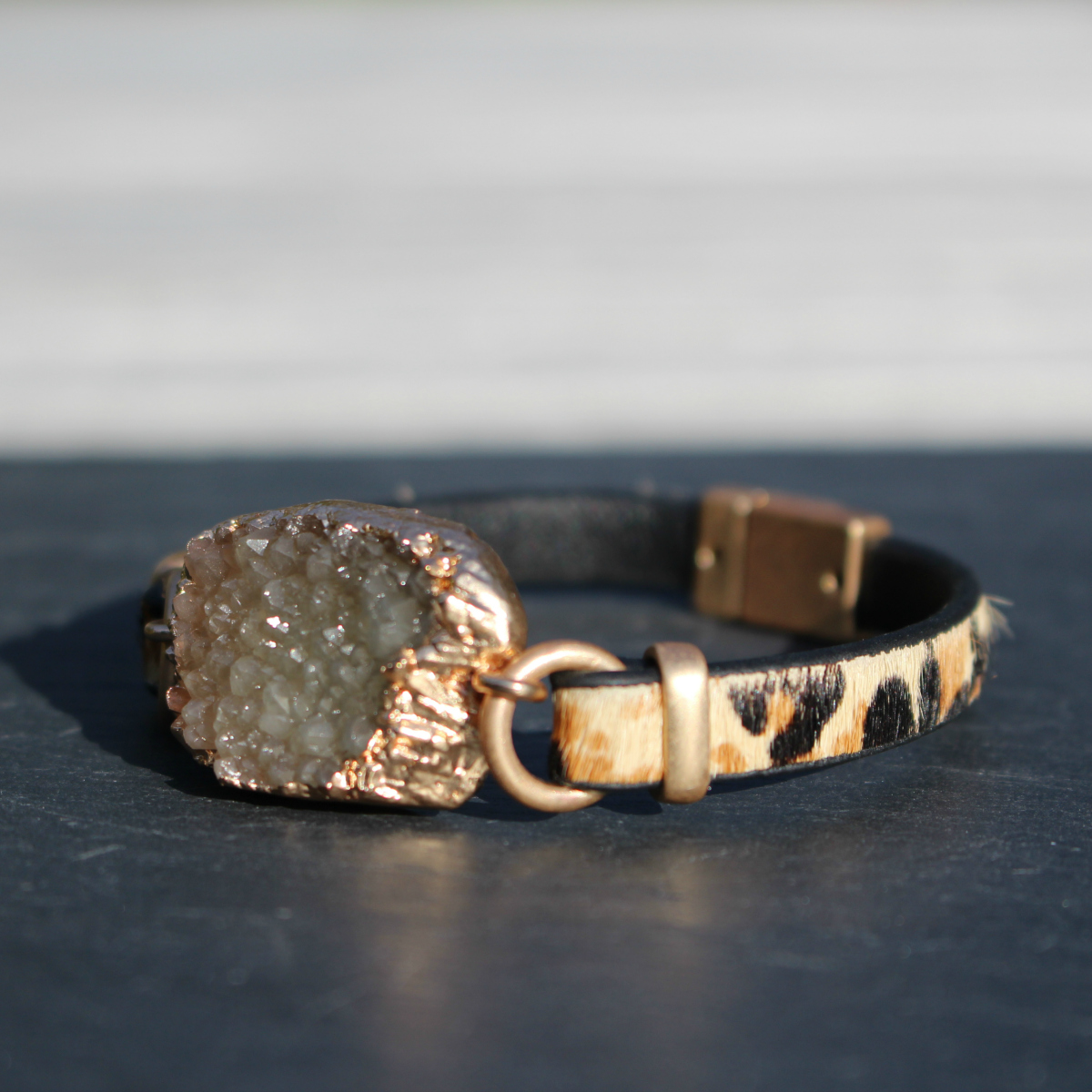 Hot Tomato Leather Leopard & Druzy Bracelet