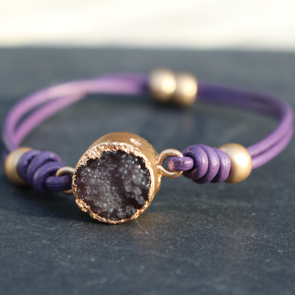 Hot Tomato Leather Lilac Bracelet with Amethyst Druzy
