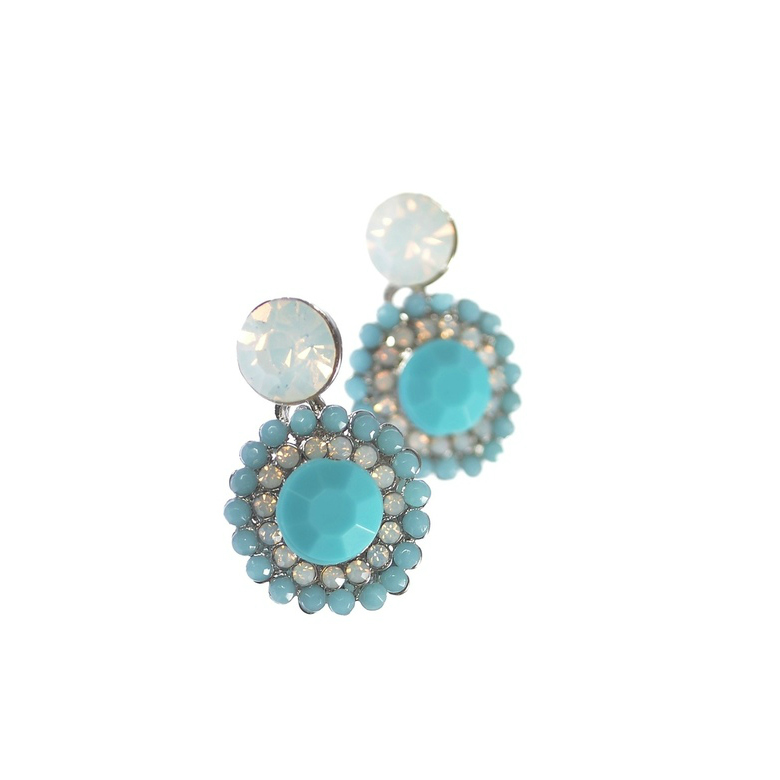 Hot Tomato Persian Princess Turquoise and Opal Stud Earrings