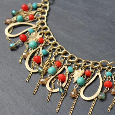 Hot Tomato Rain Drops Cascade Statement Necklace